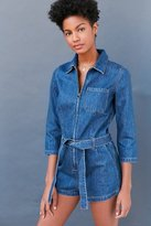 BDG Denim Zip-Front Coverall Romper