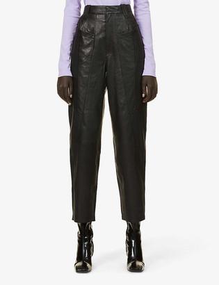 Gestuz Lulu wide-leg high-rise leather trousers