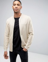 Asos Longline Jersey Bomber Jacket With Woven Panel