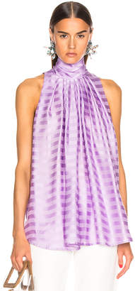 Smythe Sleeveless Turtleneck Drape Blouse in Lilac Shadow Stripe | FWRD