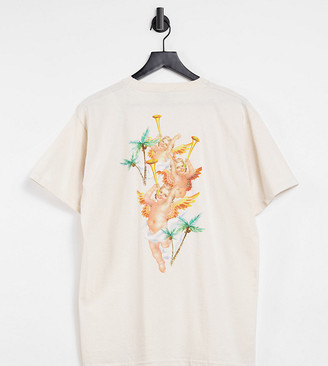 New Girl Order Exclusive oversized paradise beach t-shirt in cream