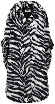 MM6 MAISON MARGIELA Zebra Print Faux Fur Coat