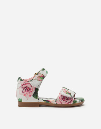 Dolce & Gabbana Ankle Strap Sandals In Nappa Leather With Tropical Rose Print