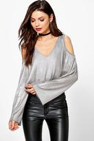 Boohoo Lilly Metallic Cold Shoulder Top
