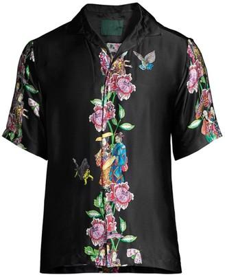Roi Du Lac Floral Vine Print Silk Sport Shirt