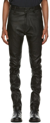 Ann Demeulemeester Black Leather Trousers
