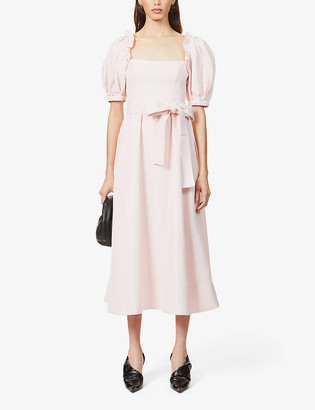 Self-Portrait Puff-sleeve woven midi dress