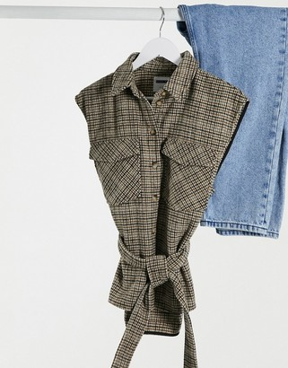 Noisy May sleeveless shirt with tie waist in brown check