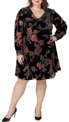 Maree Pour Toi Floral Print Long Sleeve Trapeze Dress