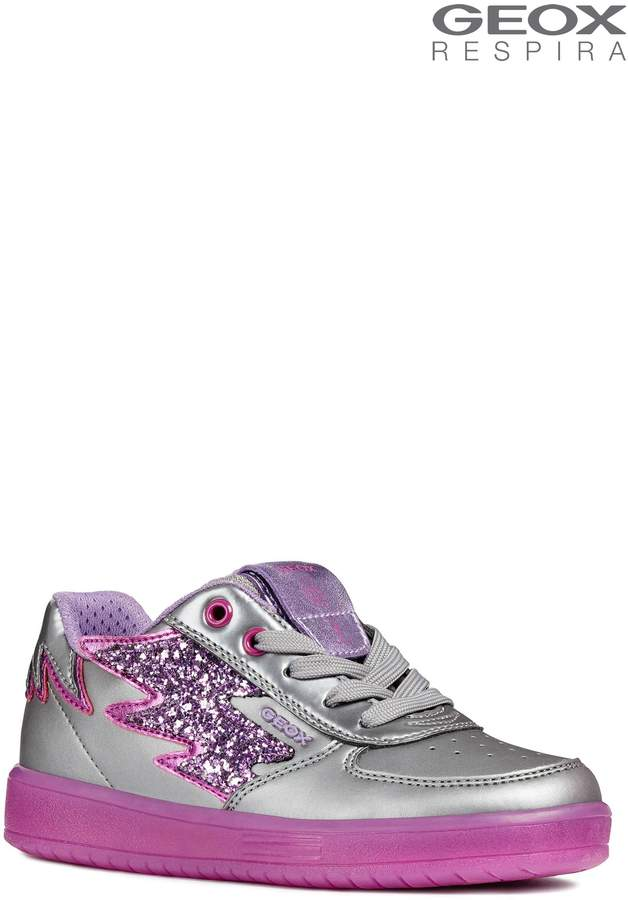 Next Girls Geox Kommodor Girl Dark Silver And Lilac Trainers With Lights