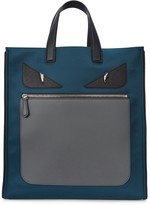 Fendi Monster Petrol Nylon And Leather Tote