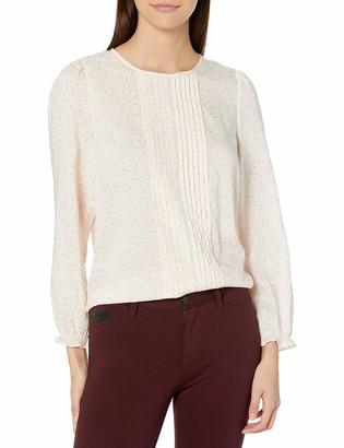 Lucky Brand Women's Long Sleeve Scoop Neck Lea Pintuck Blouse
