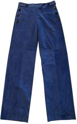Neil Barrett Blue Suede Trousers