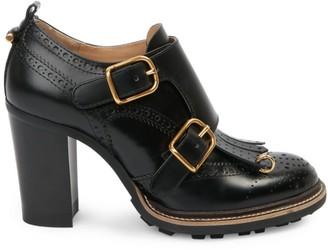 Chloé Franne Monk-Strap Leather Loafer Pumps