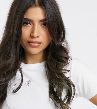 Asos DESIGN Petite t-shirt with tiny rose organic cotton
