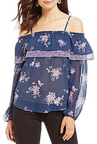 Jolt Floral Printed Cold Shoulder Ruffle Top