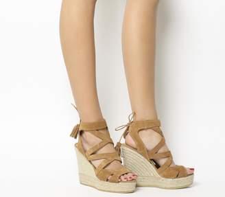 Kanna Berti Back Tie Sandals Tan Suede