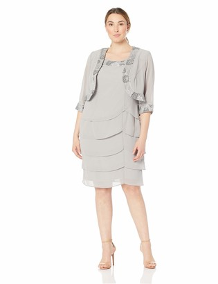 Le Bos Women's Plus Size Tiered Embellished Jacket Dress