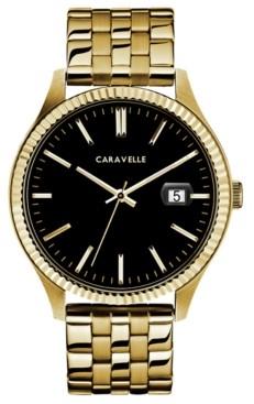 Caravelle Designed by Bulova Men's Gold-Tone Stainless Steel Bracelet Watch 41mm