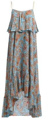 Etro Paisley-print Georgette Maxi Dress - Womens - Light Blue
