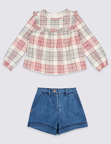 Marks and Spencer 2 Piece Cotton Rich Top & Shorts Outfit (3 Months - 6 Years)