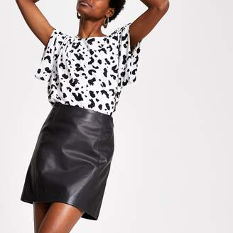 River Island Womens Black leather zip mini skirt