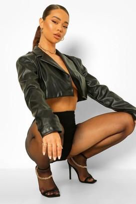 boohoo Faux Leather Crop Blazer