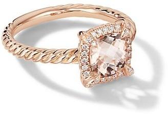 David Yurman Petite Chatelaine Pave Bezel Ring in 18K Rose Gold with Morganite