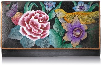Anuschka Hand Painted RFID Blocking Two Fold French Wallet Vintage Bouquet One Size
