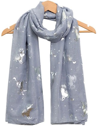 World Of Shawls Glitter Unicorn Scarf Wraps Shawl Soft Scarves (Navy Blue)