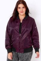 Yours Clothing Dark Purple Satin Bomber Jacket