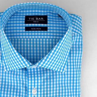 Tie Bar Gingham Aqua Non-Iron Dress Shirt