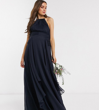 ASOS DESIGN Maternity Bridesmaid pinny maxi dress with ruched bodice and layered skirt detail