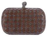 Bottega Veneta Snakeskin-Trimmed Intrecciato Knot Clutch