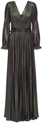 Marchesa Pleated V Neck Lame Long Dress