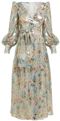 Françoise Francoise - Floral Print Silk Blend Lame Wrap Dress - Womens - Silver