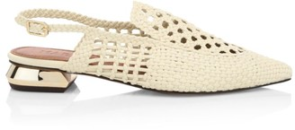 Gloria Woven Leather Slingback Loafers