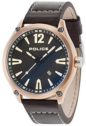 Police Mens Analogue Classic Quartz Watch with Leather Strap 15244JBR/02