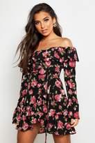 boohoo Woven Rose Print Ruffle Mini Dress