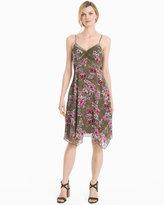 White House Black Market Strappy Velvet Trim Floral Dress