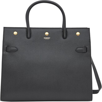 Burberry Medium Title Two-Handle Leather Bag