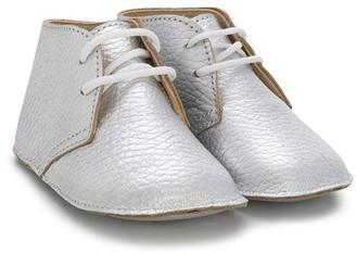 Gallucci Kids Metallic Lace-Up Crib Shoes