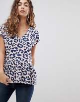 Ichi Leopard Print Smock T-Shirt