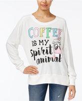 Rampage Juniors' Coffee Oversized Graphic Sweatshirt