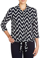 Peter Nygard Point Collar Long Sleeve Tie-Front Blouse