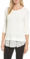 Karen Kane Women's Layer Look Lace-Up Sweater