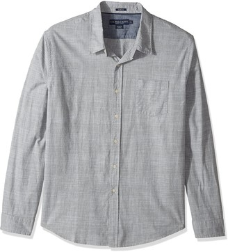 U.S. Polo Assn. Men's Slim Fit Stripe Plaid or Print Long Sleeve Sport Shirt