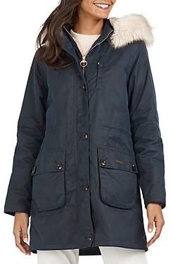 Barbour Nightingale Faux Fur Trim Waxed Cotton Jacket