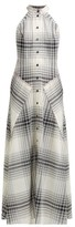 Roland Mouret Amador Checked Wool-crepe Midi Dress - Womens - Black White