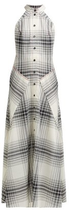 Roland Mouret Amador Checked Wool-crepe Midi Dress - Black White